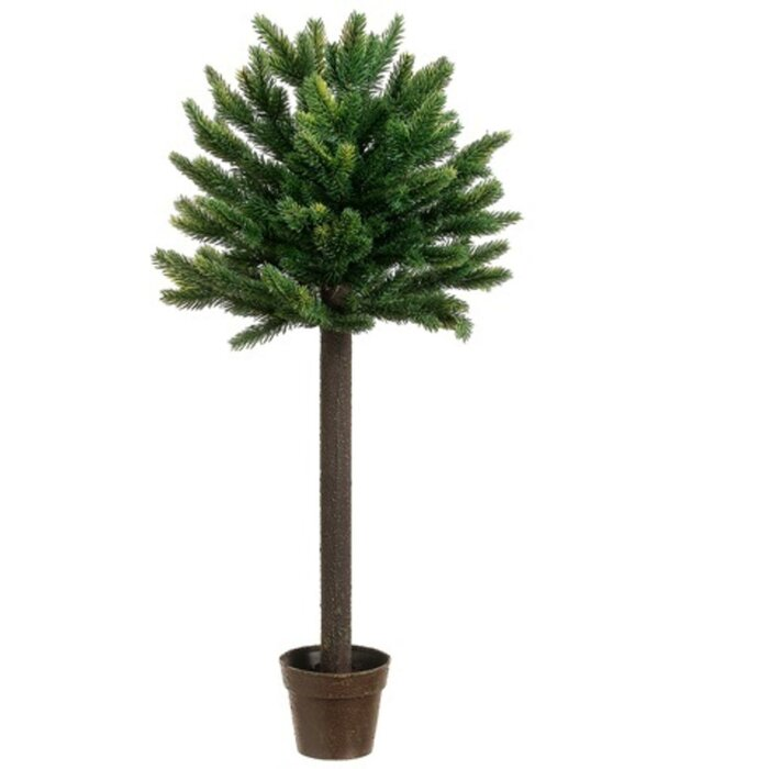2 25 Potted Short Needle Balsam Pine Artificial Topiary Christmas Tree