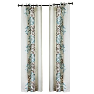 Rubin Nature/Floral Semi-Sheer Grommet Single Curtain Panel