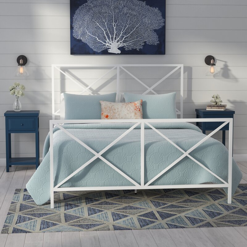 Beachcrest Home Greenlee Queen All-In-One X Gloss White Metal Bed ... 168faf61d