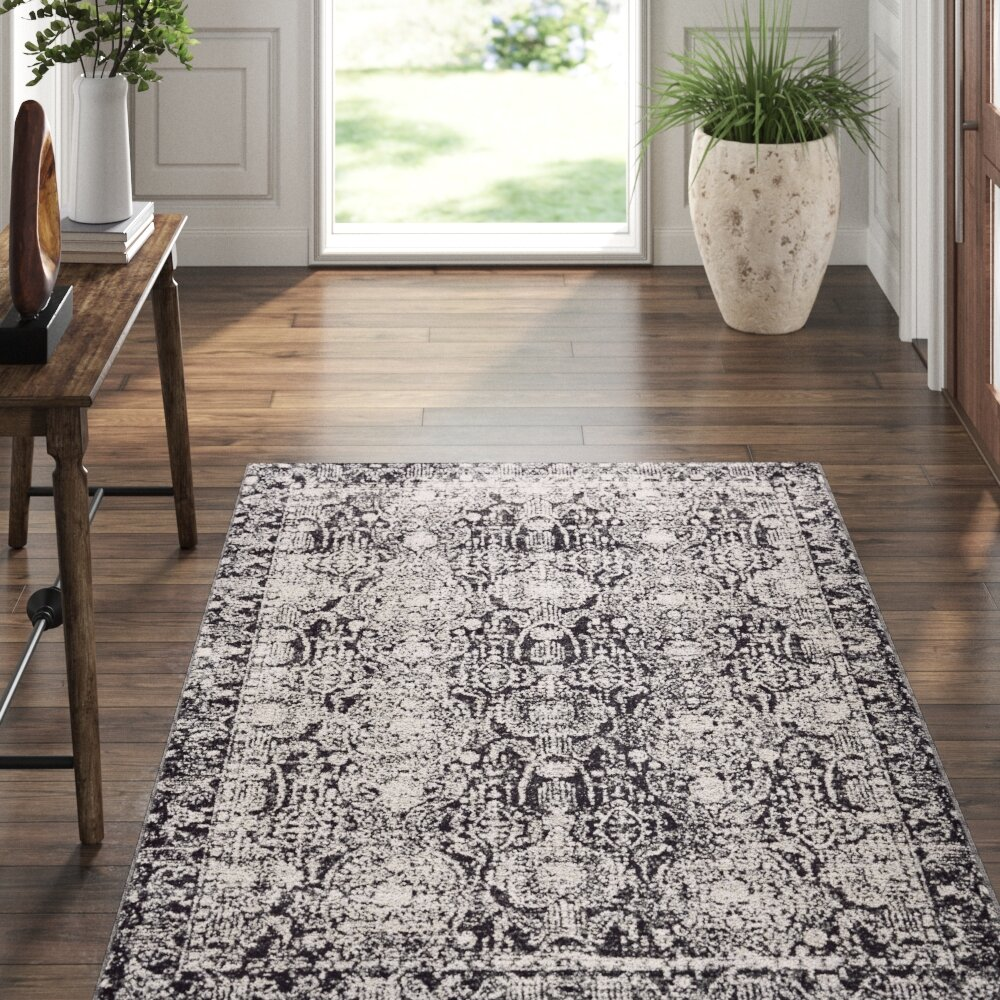 Williston Forge Corry Abstract Charcoal Gray Area Rug Reviews Wayfair