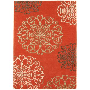 Yamala Hand-Woven Terracotta Area Rug by World Menagerie