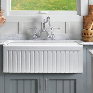 Sutton Place 30 L x 18 W Farmhouse Kitchen Sink with Basket Strainer