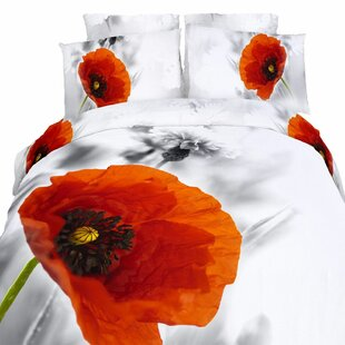 Dolce Mela Novelty Poppies 4 Piece Twin Duvet Cover Set