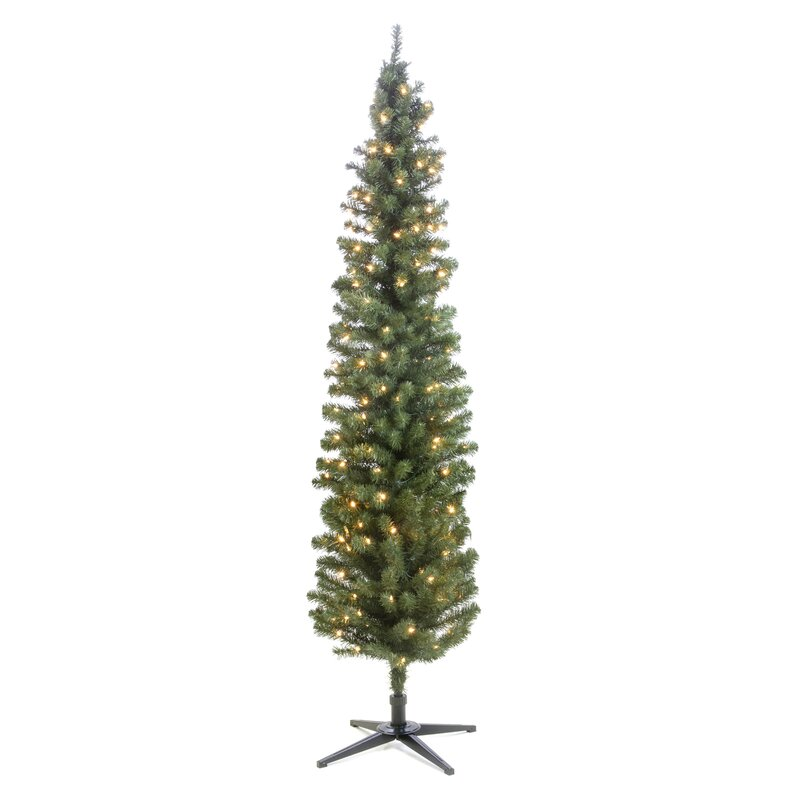 The Holiday Aisle Pre-Lit Pencil 7' Green Pine Trees ...