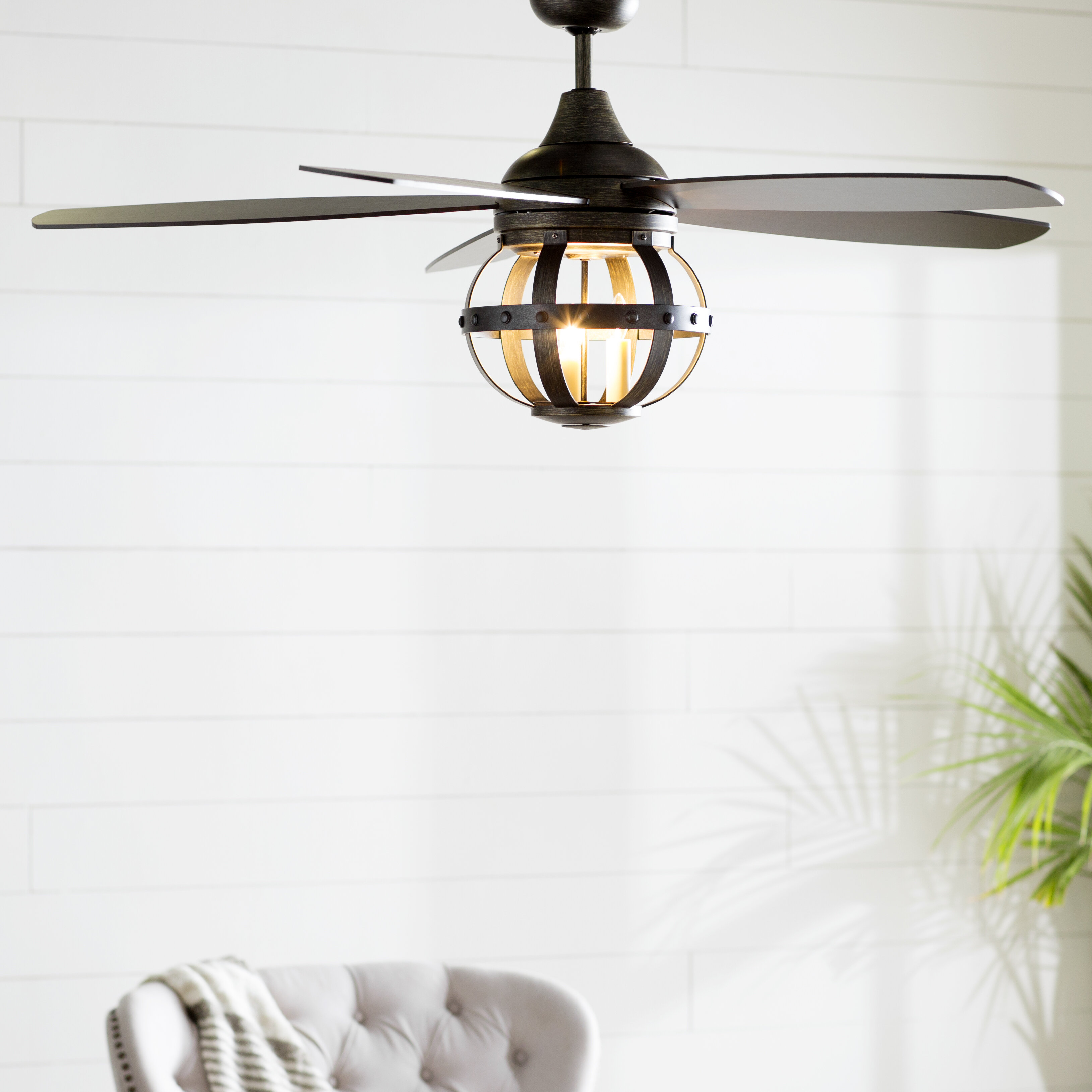 Laurel Foundry Modern Farmhouse 52 Wilburton 5 Blade Caged Ceiling Fan With Remote Control And Light Kit Included Reviews Wayfair