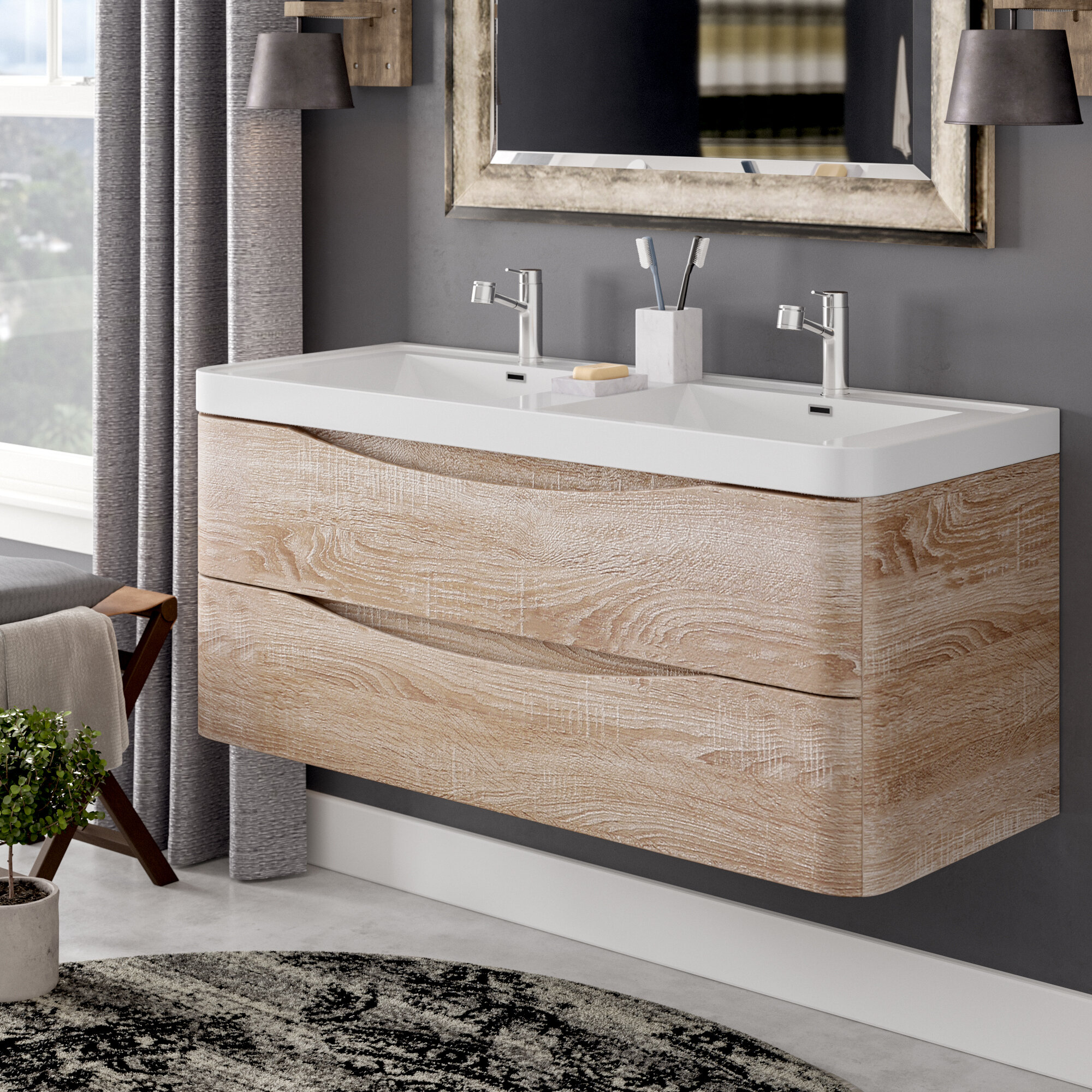 "Blondene Modern 3"" Double Bathroom Vanity Set"