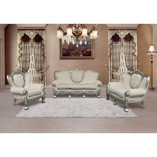 Varnell 3 Piece White And Silver Embossed Fabric Standard Living Room Set