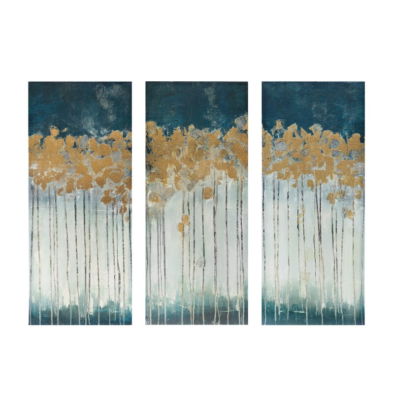 Attirant U0027Midnight Forestu0027 Gel Coat Canvas Wall Art With Gold Foil Embellishment 3  Piece. U0027