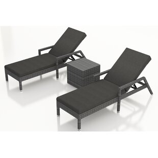 Hobbs Reclining Chaise Lounge with Cushion and Table