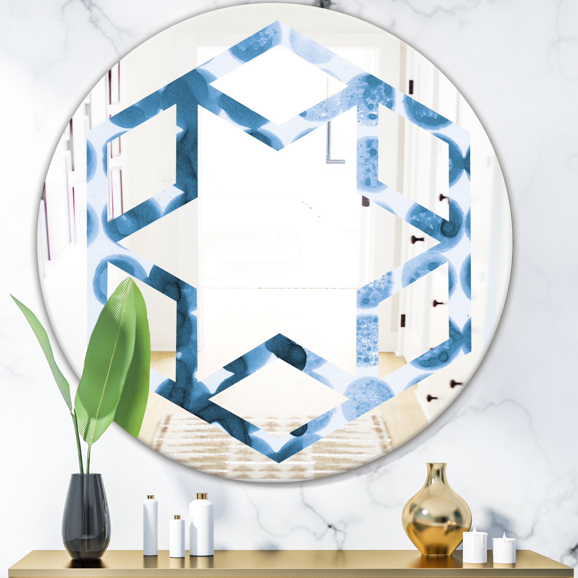 East Urban Home Hexagon Star Watercolor Geometrical Vii Eclectic Wall Mirror Wayfair