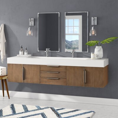 Brayden Studio Hukill 72 Wall-Mounted Double Bathroom Vanity Set