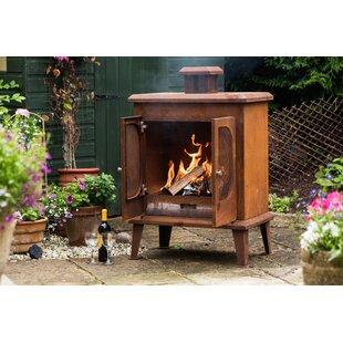 Rustic Steel Wood Burning Outdoor Fireplace