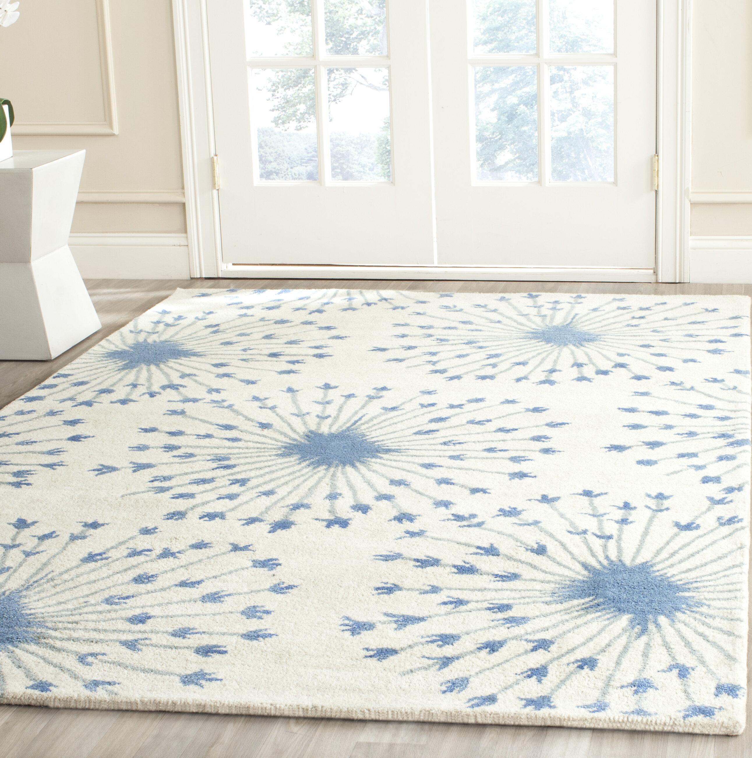 Gracie Oaks Gulzar Hand Tufted Wool Beige Blue Area Rug Reviews Wayfair Ca