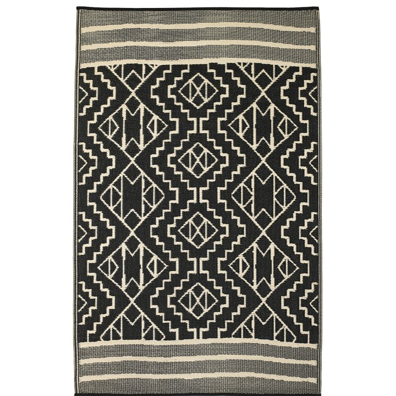 Union Rustic Tayler Indoor Outdoor Black Beige Area Rug