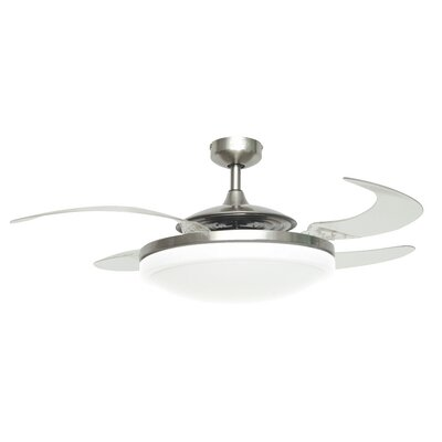 """48"""""""" Lanora Retractable 4 Blade Ceiling Fan with Remote, Light Kit Included Orren Ellis Finish: Brushed Chrome -  751F2427B36948FBB8DE440B2334F79C"""
