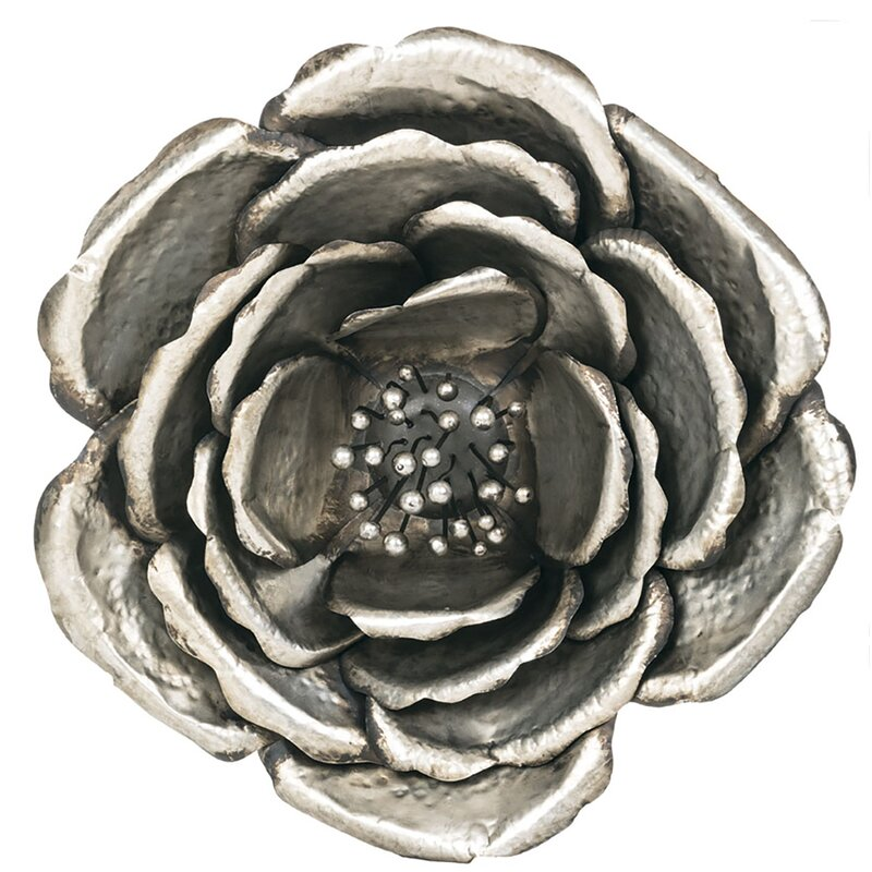 Silver Metal Flower Wall Decor