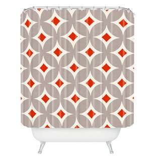 Cooney Vermillion Diamond Single Shower Curtain