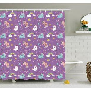 Lizbeth Unicorn Rainbows Baby Shower Curtain Set