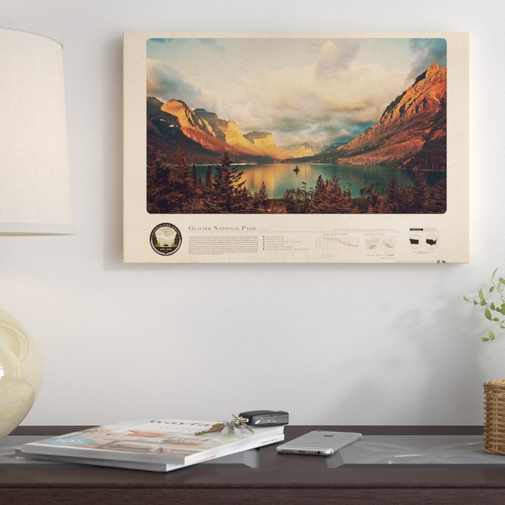 East Urban Home Glacier National Park Graphic Art Print On Canvas Wayfair