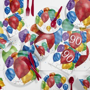 Balloon Blast 90th Birthday Party Paper/Plastic Supplies Kit (Set of 81)