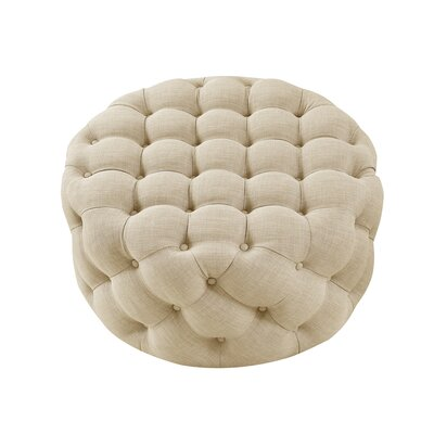 House of Hampton Mudge Round Tufted Cocktail Ottoman Upholstery Color: Beige, Upholstery Material/Body Fabric: Linen