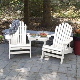 Camacho Plastic Folding Adirondack Chair with Table (Set of 3)