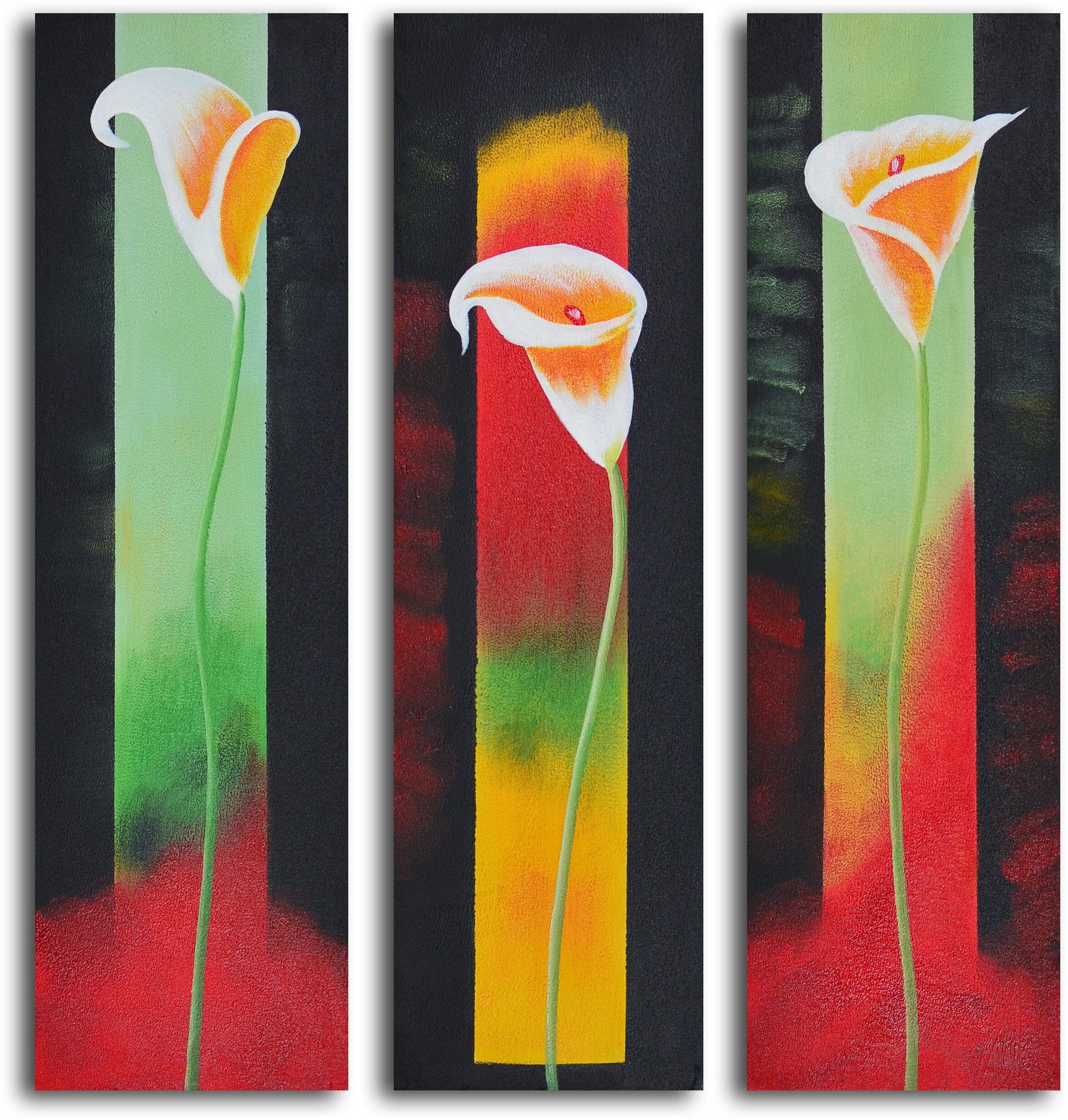 My Art Outlet Upstaged Lilies 3 Piece Painting On Wrapped Canvas Set Wayfair