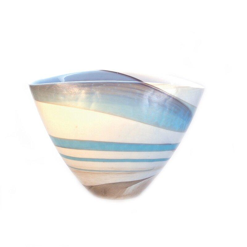 Rosecliff Heights Dede Ivory Aqua Blue Tan 8 Glass Table Vase Wayfair