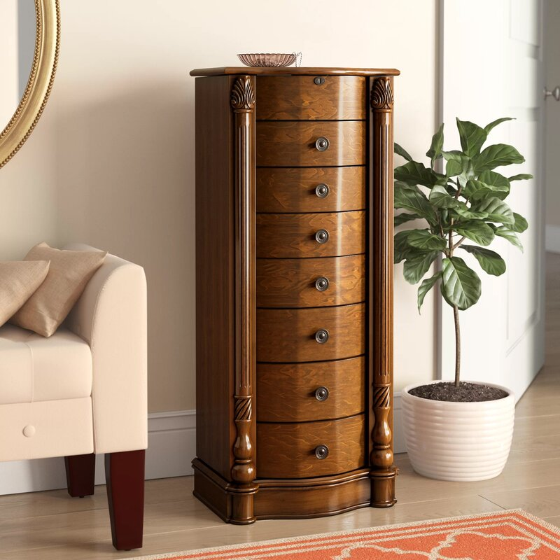 Alcott Hill Jovany Freestanding Jewelry Armoire With Mirror Reviews Wayfair