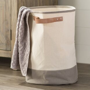 Laurel Foundry Modern Farmhouse Leather Handle Laundry Hamper