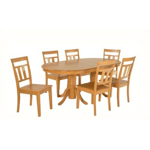 Alvy 7 Piece Solid Wood Dining Set August Grove