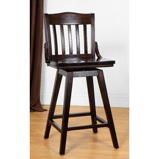 Orlando Wood 24 Swivel Bar Stool Loon Peak