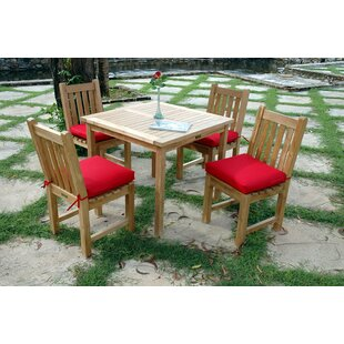 Rosecliff Heights Farnam 5 Piece Teak Dining Set with Cushions