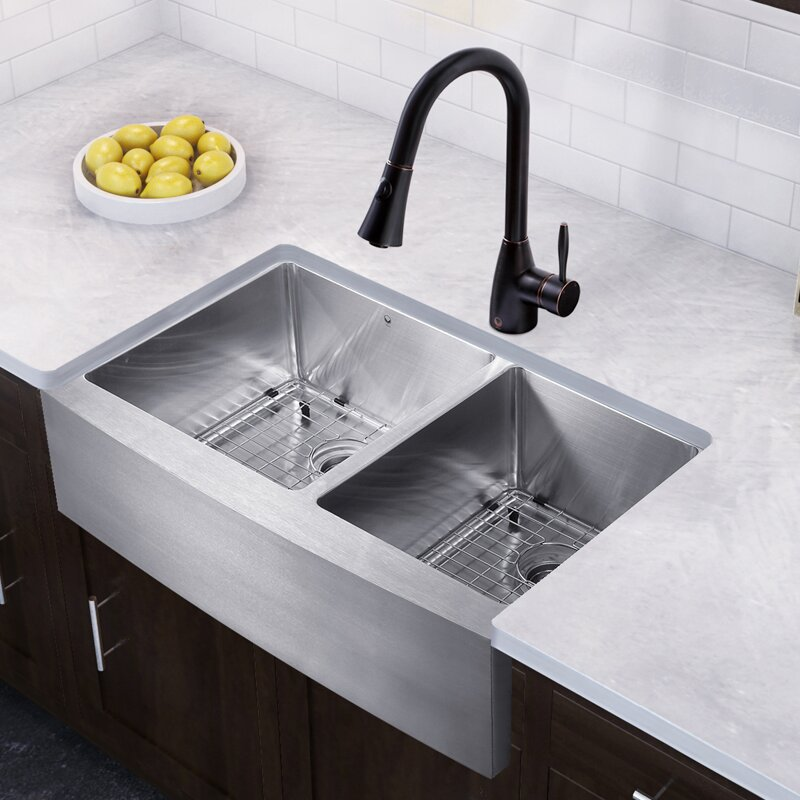 36 Inch Farmhouse Apron 60/40 Double Bowl 16 Gauge Stainless Steel Kitchen  Sink With