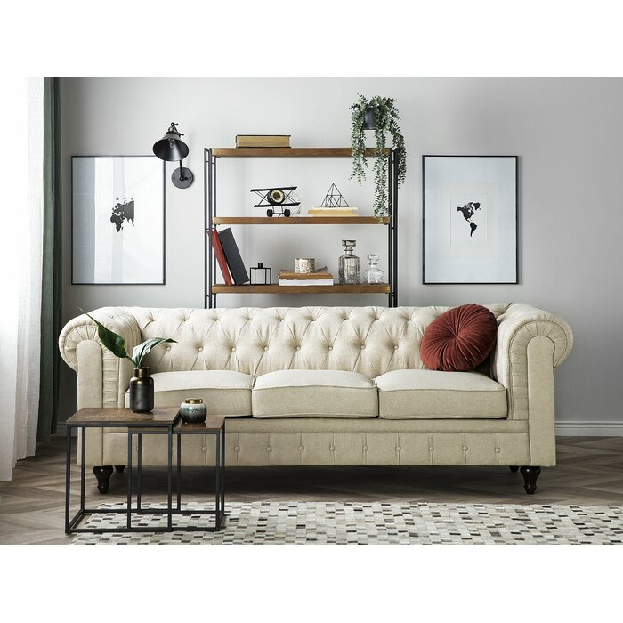 Russell 3 Seater Fabric Chesterfield Sofa