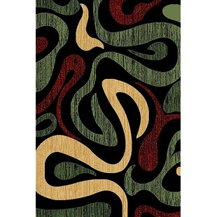 Great Price Cossette Green/Black Area Rug By Ebern Designs