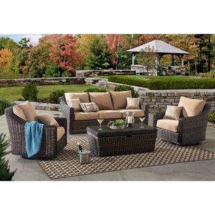 Espinal Deep 4 Piece Sofa Set with Cushions