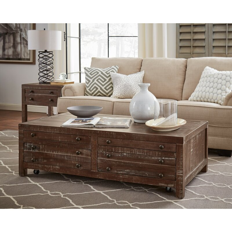 Gracie Oaks Meltham Wooden 4 Drawer Coffee Table With Storage