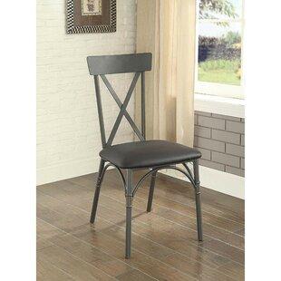 Branam Upholstered Metal Cross Back Side Chair in Black Set of 2