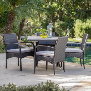 Bay Isle Home Mathiatis 5 Piece Dining Set with Cushions