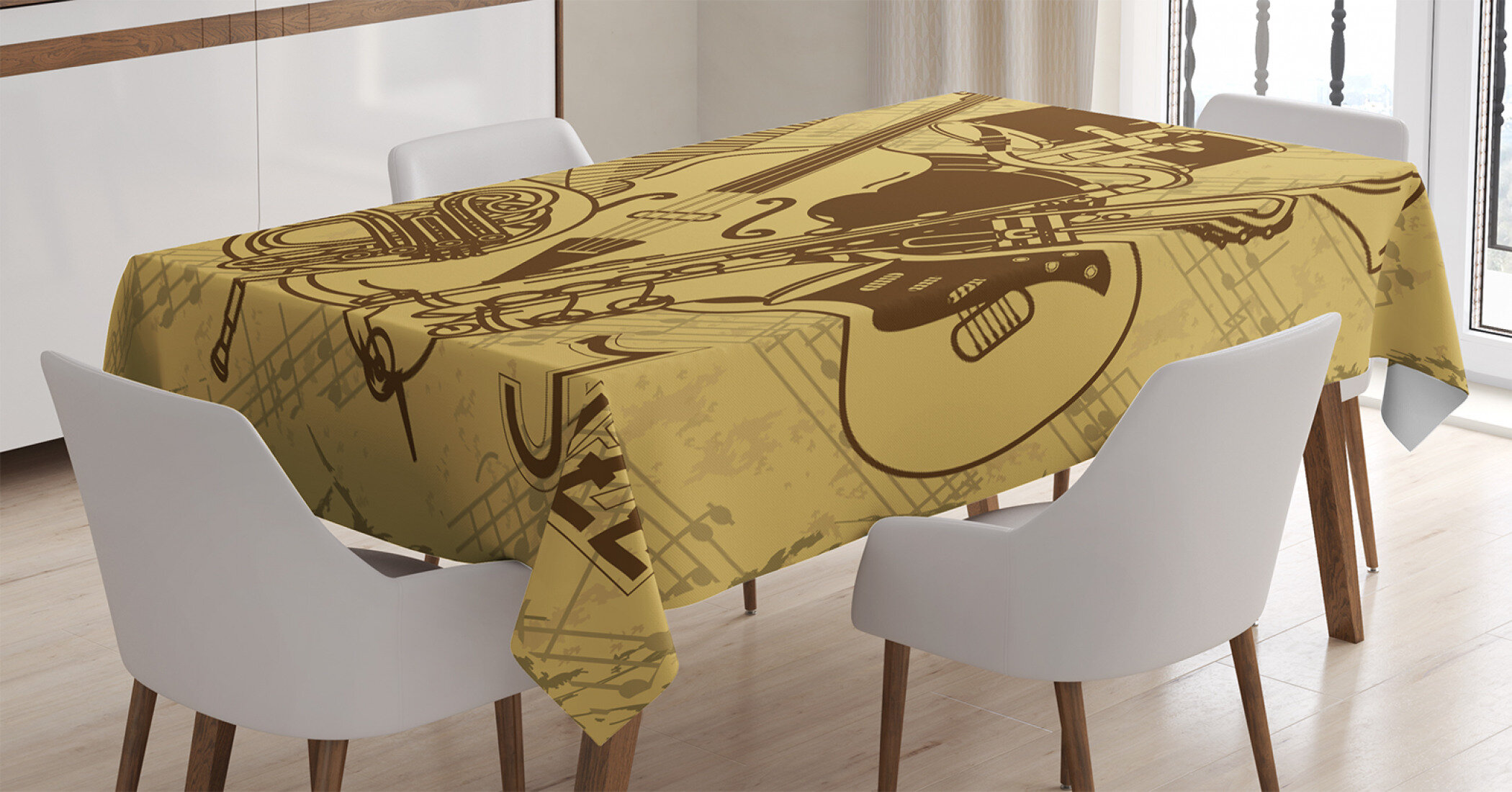 Ambesonne Music Tablecloth, Jazz Music Equipments With Vintage Background  Retro Style In Music Themed Print, Rectangular Table Cover For Dining Room  ...