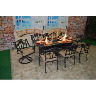 Bayou Breeze Keefe Tree 9 Piece Sunbrella Dining Set with Cushions