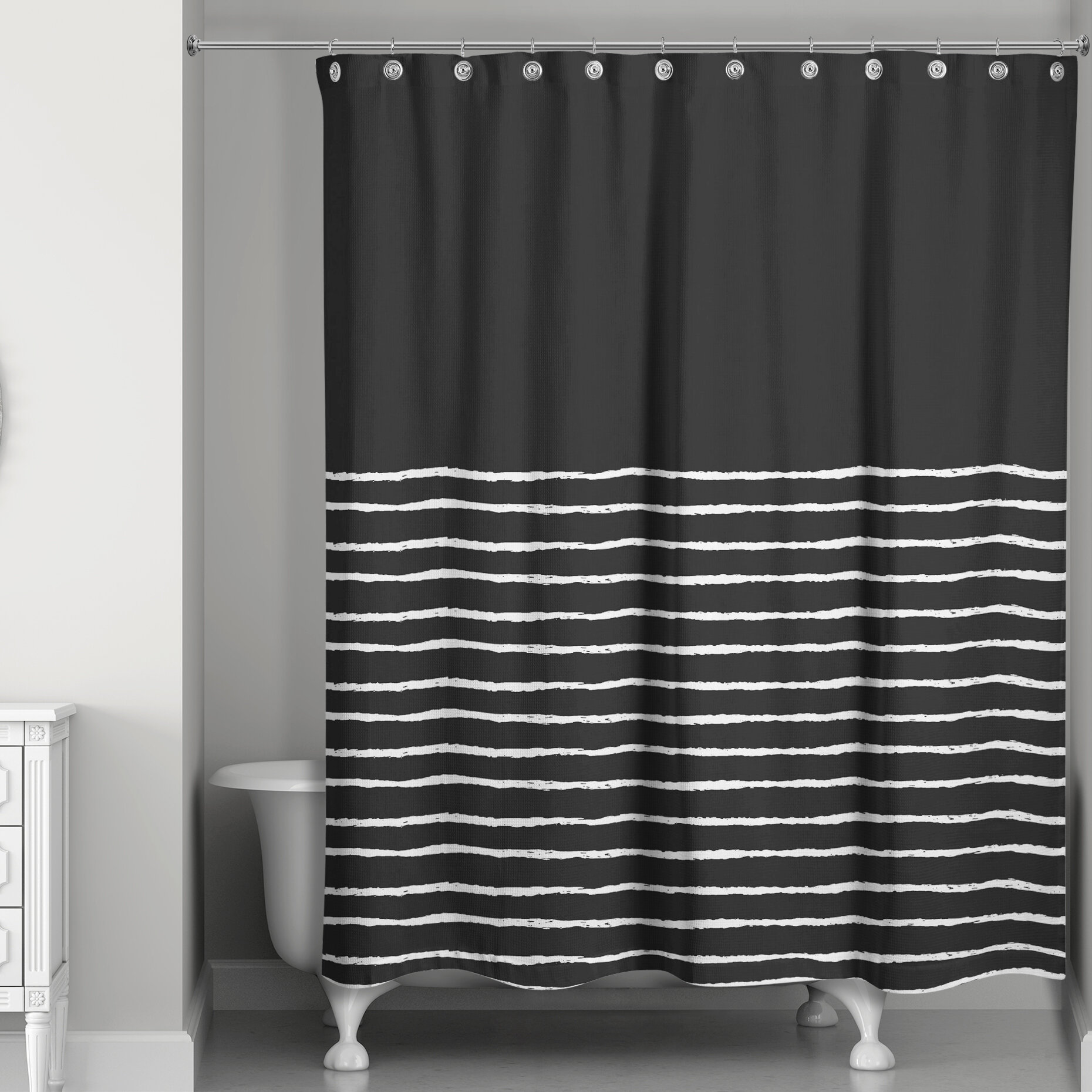 Orren Ellis Stenya Sketch Stripes Single Shower Curtain Reviews Wayfair