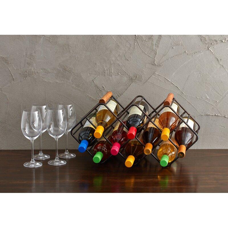 Table Top Wine Bottle Tree Rack Tree Holds 6 Bottles Black Kitchen Bar Dining
