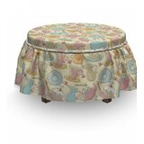 Tea Party Cake And Teapots 2 Piece Box Cushion Ottoman Slipcover Set by East Urban Home