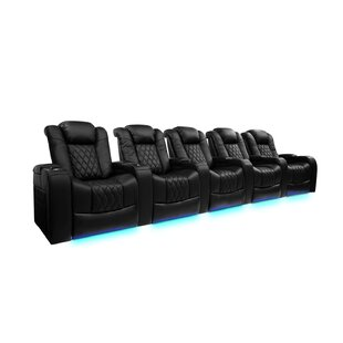 Freeport Park Power Reclining Leather Home Theater Row Seating