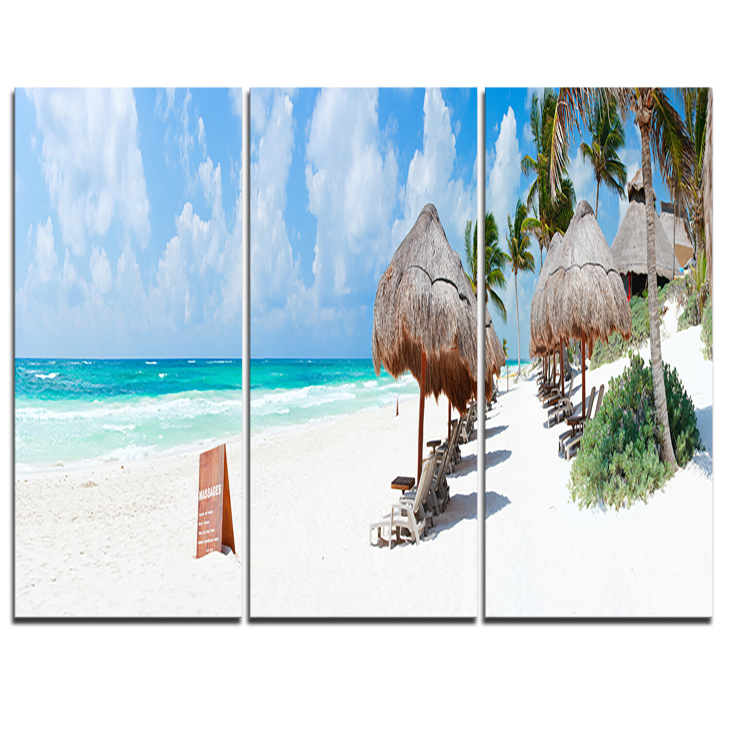 Designart Caribbean Beach Panorama 3 Piece Graphic Art On Wrapped Canvas Set Wayfair Ca