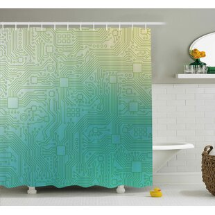 Adonia Abstract Technology Pattern Motherboard Image Background Vector Graphics Single Shower Curtain