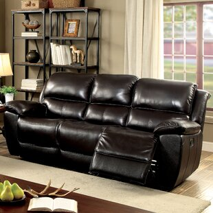 Erie Leather Reclining Sofa by Red Barrel Studio