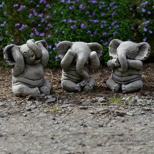 3 Piece Wise Elephant Stone Garden Statue Set